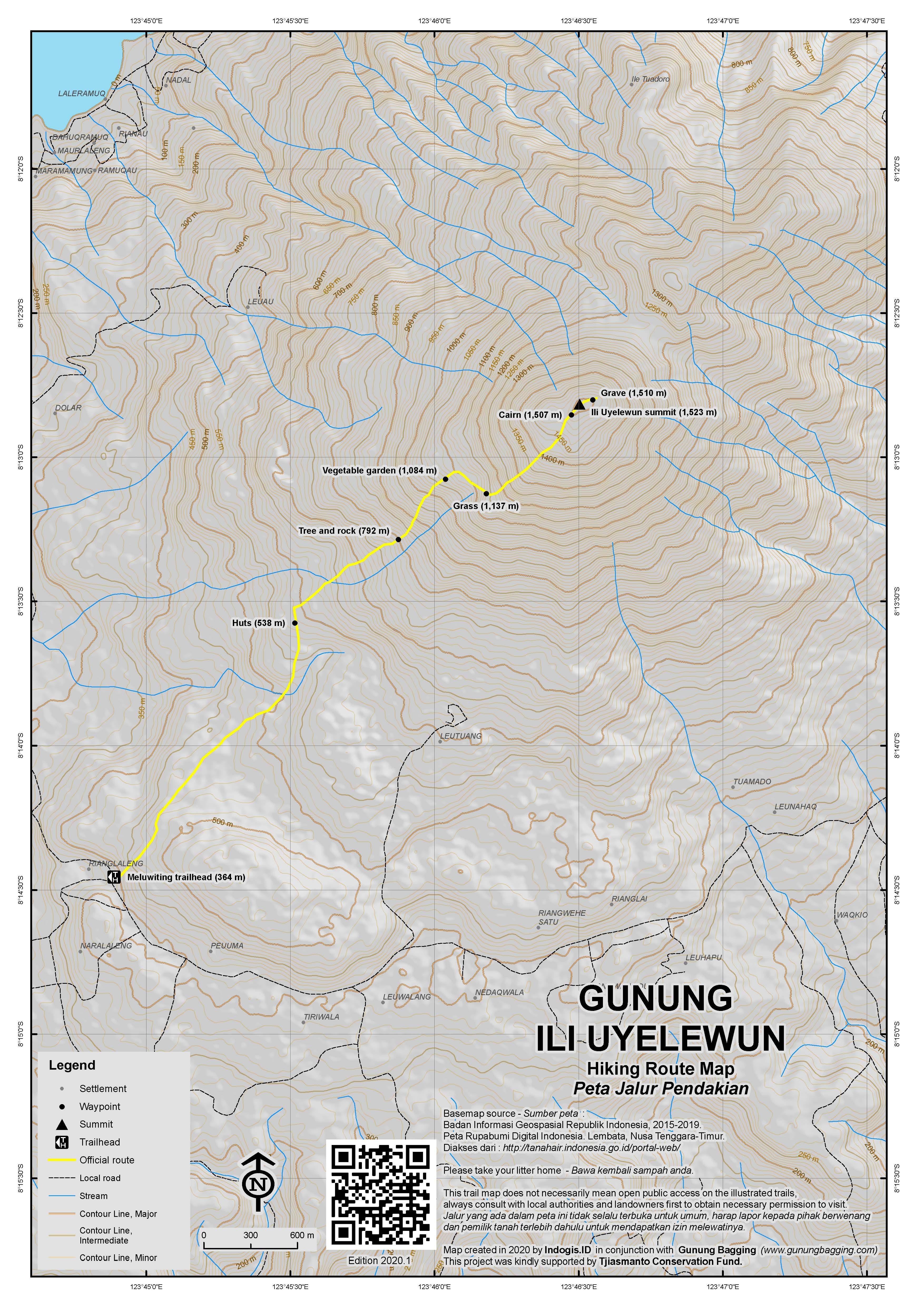 Peta Jalur Pendakian Ili Uyelewun