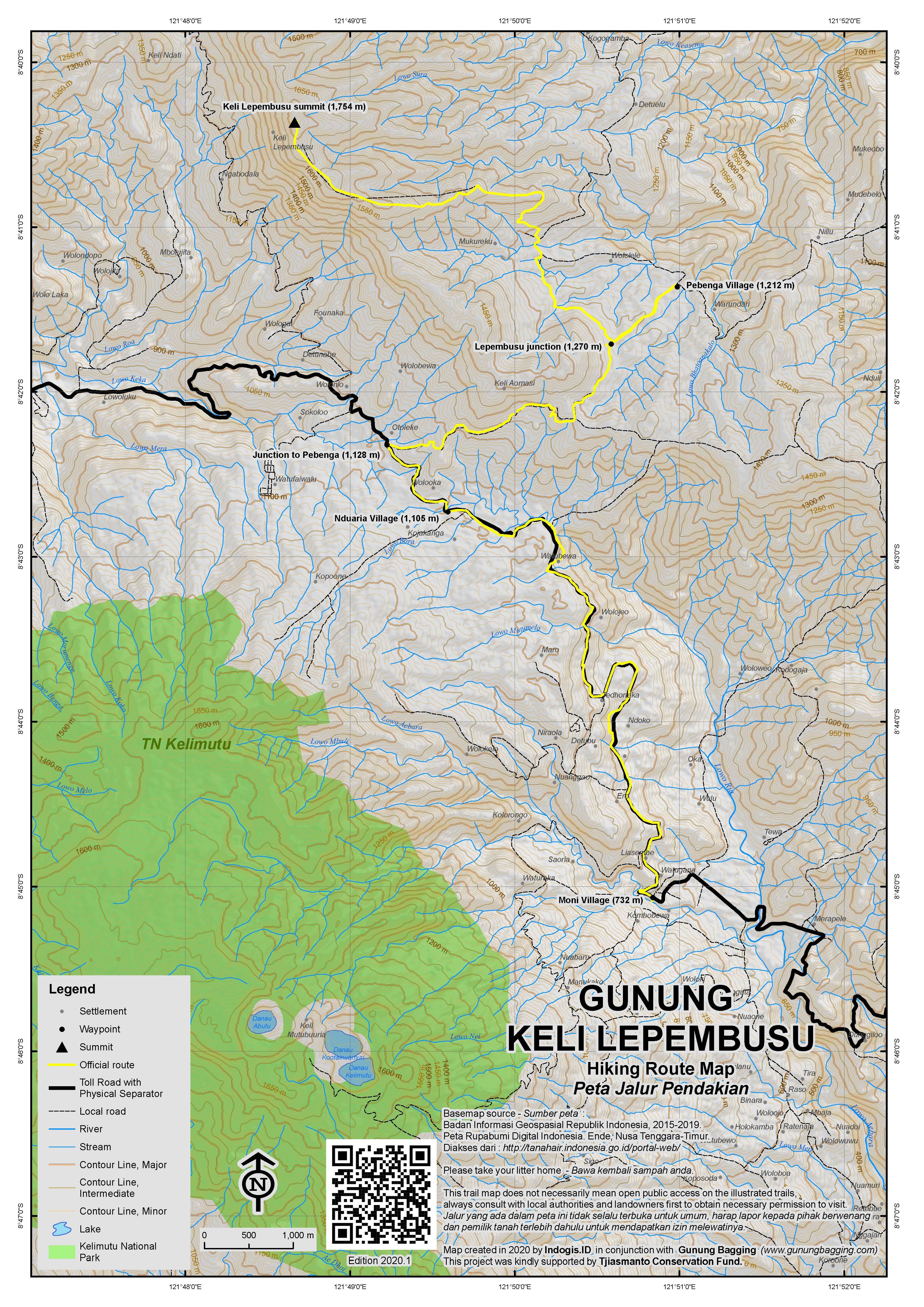 Peta Jalur Pendakian Keli Lepembusu