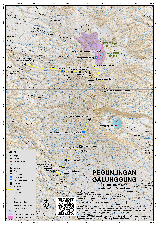 Peta Jalur Pendakian Pegunungan Galunggung