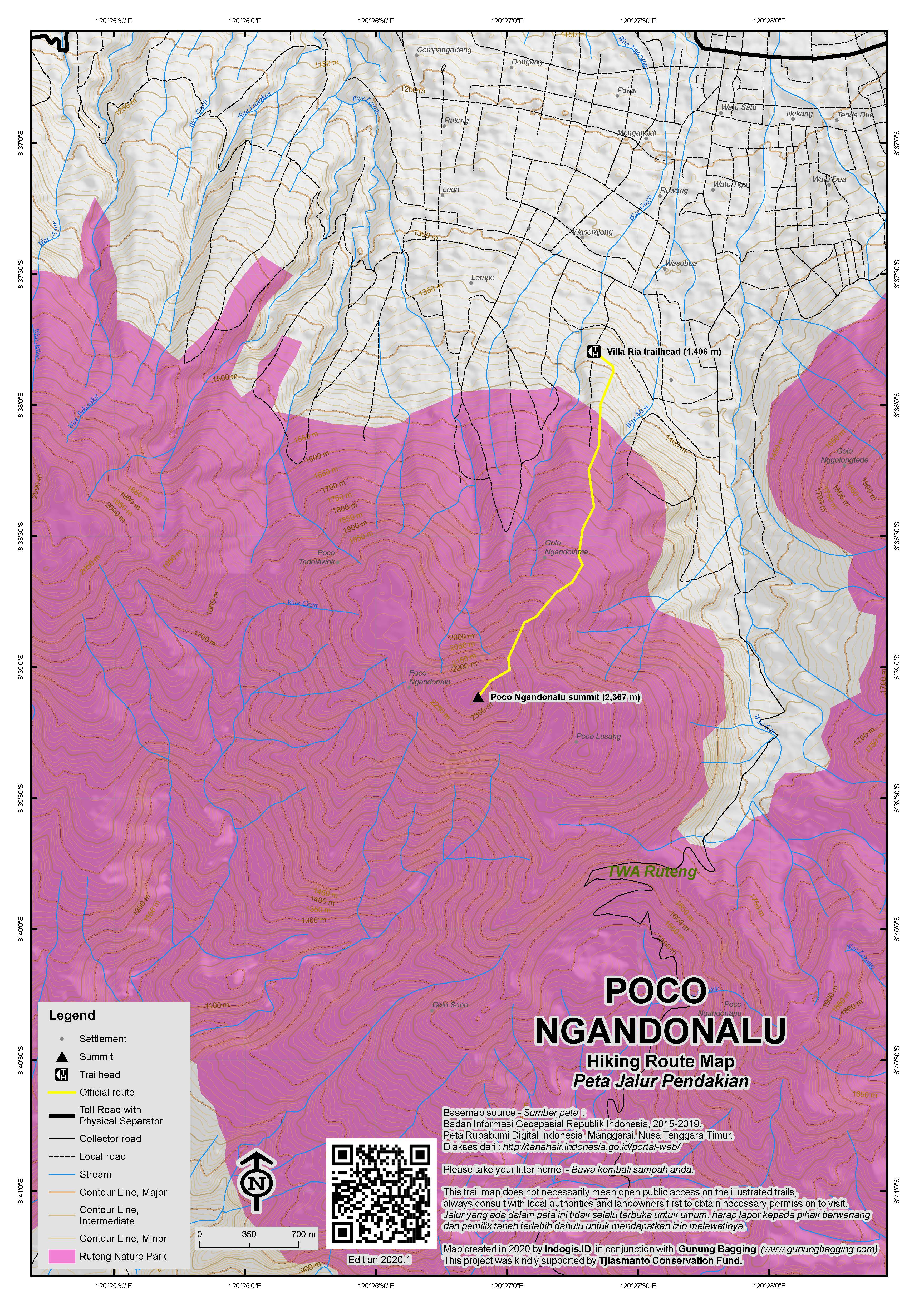 Peta Jalur Pendakian Poco Ngandonalu