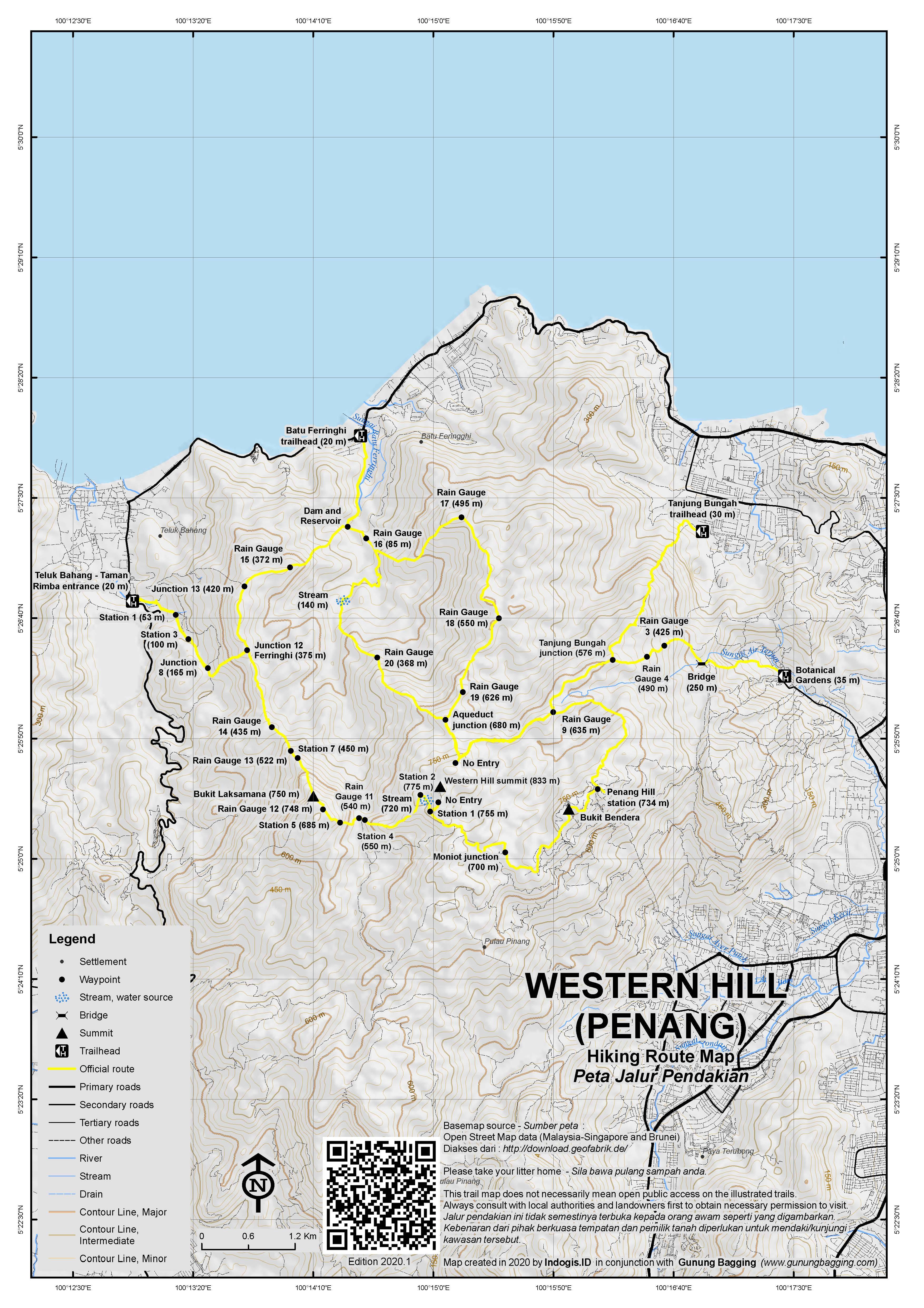 Peta Jalur Pendakian Western Hill (Penang)